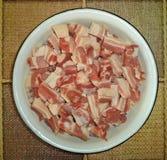 Pieces of raw fresh pork brisket stock photos