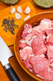 Pieces of raw meat Stock Photos