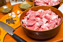 Pieces of raw meat Royalty Free Stock Photography