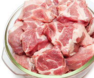 Pieces of raw meat in glass pan close-up Royalty Free Stock Images
