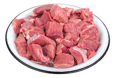 Pieces of raw meat on plate Royalty Free Stock Image