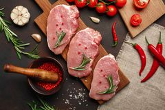 Pieces of raw pork steak on cutting board with cherry tomatoes, rosemary, garlic, pepper, salt and spice mortar on rusty brown. Background. Top view stock images