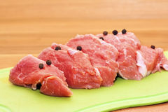Pieces of raw pork Royalty Free Stock Photo