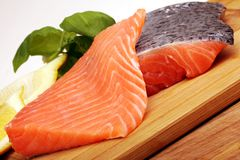 Pieces of raw salmon Royalty Free Stock Photo