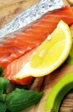 Pieces of raw salmon Royalty Free Stock Image