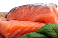 Pieces of raw salmon Stock Images