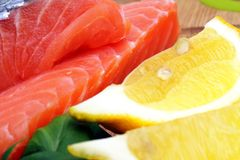 Pieces of raw salmon Stock Image