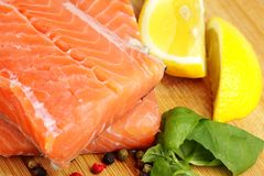 Pieces of raw salmon Royalty Free Stock Photography