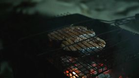 Pieces of red delicious fish Heat over an open fire on the grill, in the evening.Slow motion. 1920x1080 stock video footage