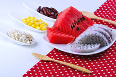 Pieces of refreshing watermelon and dragon fruit Stock Photo