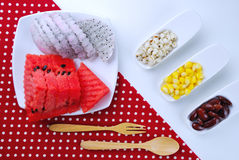 Pieces of refreshing watermelon and dragon fruit Stock Image