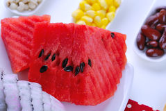 Pieces of refreshing watermelon and dragon fruit Royalty Free Stock Photography
