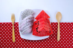 Pieces of refreshing watermelon and dragon fruit Royalty Free Stock Photos