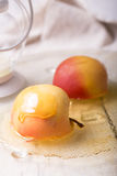 Pieces ripe apple and honey Royalty Free Stock Image