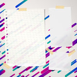 Pieces of ripped ruled and blank note, notebook, copybook paper sheets stuck on lined colorful background. Pieces of ripped ruled and blank note, notebook Stock Image