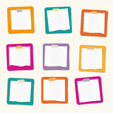 Pieces of ripped white blank note paper are stuck on colorful squares Royalty Free Stock Images