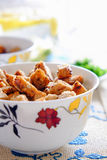 Rusks in a light cup. Pieces of rusks in a light cup on the table Stock Photography