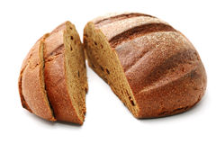 Pieces of rye bread  on a white Stock Photo