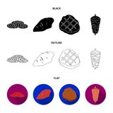 Pieces of salami, turkey fillet, grilled steak, kebab.Meat set collection icons in black,flat,outline style vector. Symbol stock illustration Royalty Free Stock Photo