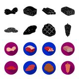 Pieces of salami, turkey fillet, grilled steak, kebab.Meat set collection icons in black,flet style vector symbol stock. Illustration Royalty Free Stock Photos