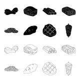Pieces of salami, turkey fillet, grilled steak, kebab.Meat set collection icons in black,outline style vector symbol. Stock illustration Stock Photos