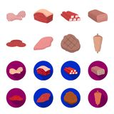 Pieces of salami, turkey fillet, grilled steak, kebab.Meat set collection icons in cartoon,flat style vector symbol. Stock illustration Royalty Free Stock Photo