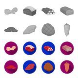 Pieces of salami, turkey fillet, grilled steak, kebab.Meat set collection icons in monochrome,flat style vector symbol. Stock illustration Stock Photography