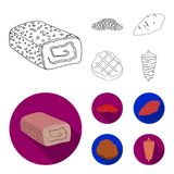 Pieces of salami, turkey fillet, grilled steak, kebab.Meat set collection icons in outline,flat style vector symbol. Stock illustration Stock Images