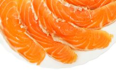 Pieces of salmon meat on a plate Royalty Free Stock Photography