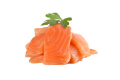 Salmon. Pieces of salmon with parsley Stock Images