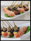 Pieces of salmon in sesame with capers Stock Images