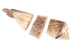 Pieces of salt cod fish Stock Images