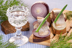 The pieces of salted herring on rye bread and the glass Stock Photography