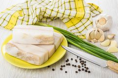 Salted lard in plate, garlic, black pepper, green onion, knife. Pieces of salted lard in yellow plate, garlic, black pepper, green onion and knife on wooden Royalty Free Stock Photo