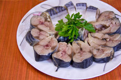 Pieces of salted mackerel  on white background Stock Photos