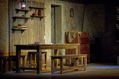 Pieces of scenery on stage of Taganka Theatre. MOSCOW - JAN 18: Pieces of scenery on stage of Taganka Theatre in performance  The Cripple from Inishmaan put by Stock Photography