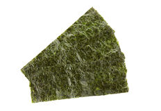 Pieces of seasoned dried seaweed. Isolated on white royalty free stock photo