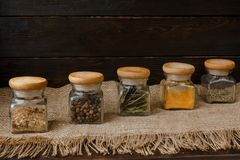 6 pieces set of glass jar spices. stock photo