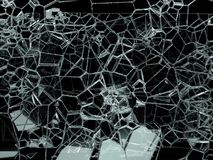 Pieces of shattered or cracked glass on black. 3d illustration; 3d rendering Stock Photos