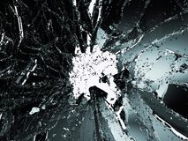 Pieces of shattered or smashed glass on white Stock Photo