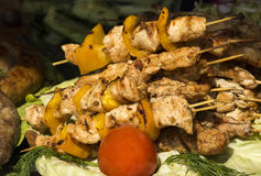 Pieces of shish . Pieces of shish kebab on a skewer Royalty Free Stock Photography