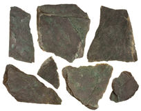 Pieces of slate rock with red and green tint Stock Photos