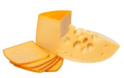 Pieces and slices of cheese Royalty Free Stock Photos
