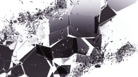 Pieces of smashed cracking glass on white. Large resolution Stock Images