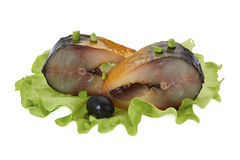 Pieces of smoked mackerel with olive, green onion and salad Stock Photo