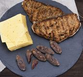 Pieces of smoked salami, cheese and toast from bread Royalty Free Stock Photography