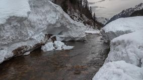 Pieces of snow from the mountain avalanche in the river against the backdrop of mountain peaks stock video footage