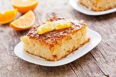 Pieces Of Some Homemade Orange Cake. Close up of a slice of some homemade orange cake Stock Photography
