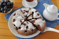 Sponge cake with plum stock photos