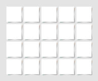 20 pieces square blank sheet of white paper with the shadow. For your design, vector illustration Stock Images